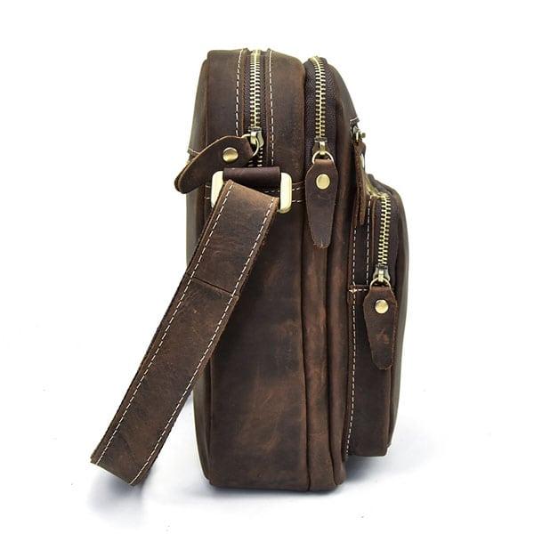 Túi đeo chéo nam da bò sáp dạng hộp KT58 thân túi