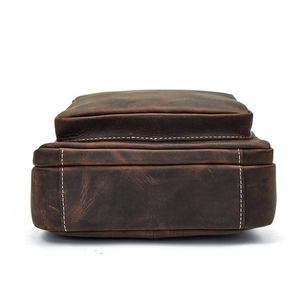 Túi đeo chéo nam da bò sáp dạng hộp KT58 đáy túi