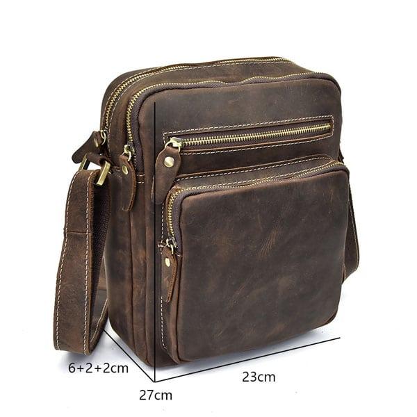 Túi đeo chéo nam da bò sáp dạng hộp KT58 kích thước