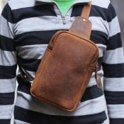 Túi đeo lưng da bò sáp TDL 21 màu nâu da bò