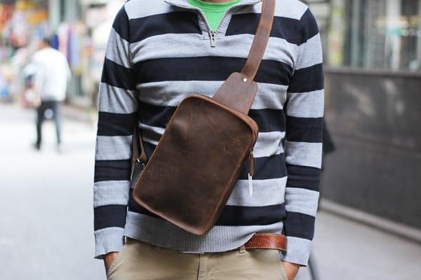 Túi đeo lưng da bò sáp TDL 21 màu nâu đậm