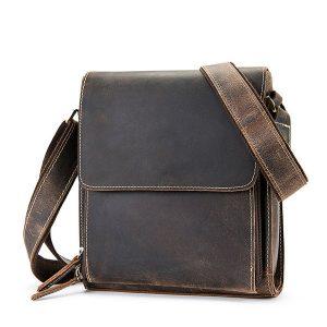 Túi xách nam đeo chéo da bò sáp KT51 màu đen
