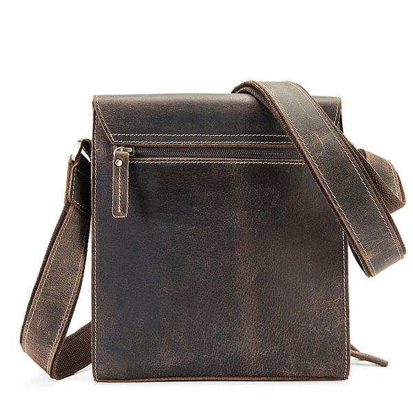 Túi xách nam đeo chéo da bò sáp KT51 màu đen mặt sau