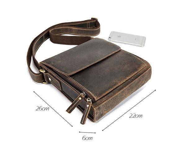 Túi xách nam đeo chéo da bò sáp KT51 màu đen kích thước