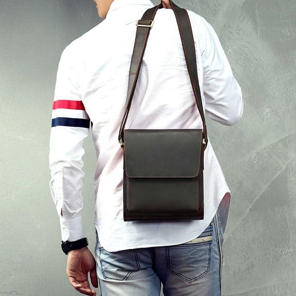 Túi xách nam đeo chéo da bò sáp KT51 màu đen trẻ trung, năng động