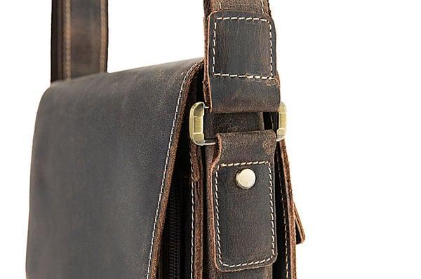 Túi xách nam đeo chéo da bò sáp KT51 màu đen quai túi