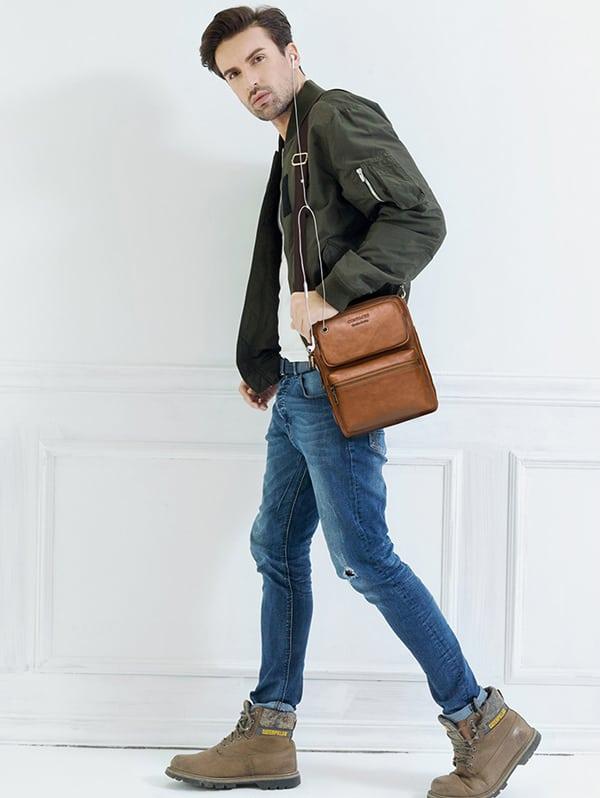 Túi đeo chéo nam da bò contact thời trang phong cách