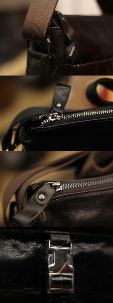 Chi tiết phụ kiện túi đeo chéo nam da bò contact 03