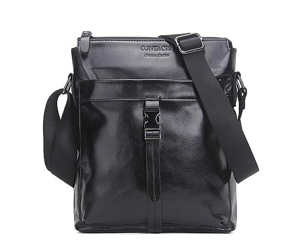 Túi đeo chéo nam da bò contact 03 - màu đen