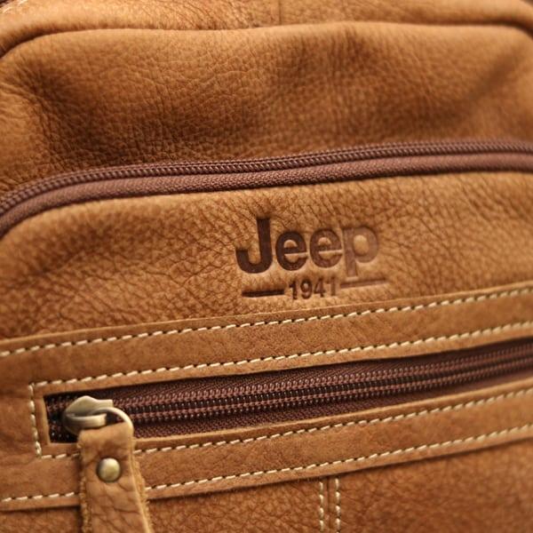 Logo sắc nét túi đeo chéo nam da bò trẻ trung năng động Jeep J32 2017 nâu nhạt