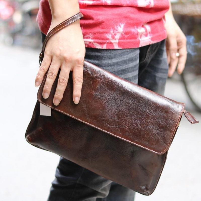 Cặp da nam clutch bag đeo chéo cầm tay da thật sang trọng CD43 cầm tay