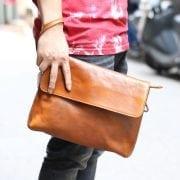 Cặp da nam clutch bag đeo chéo cầm tay da thật sang trọng CD43 vàng – cầm tay