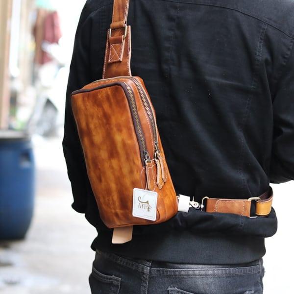 Túi da đeo lưng, ngực thời trang TDL22 đeo sau lưng