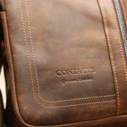 Túi da nam thời trang nhỏ gọn Contact 08 logo sắc nét