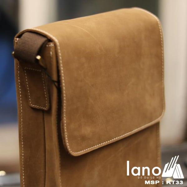 Túi đeo chéo nam da bò thời trang sang trọng KT33 nghiêng - mặt trên