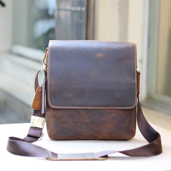 Túi đeo chéo nam da thật đựng iPad dạng hộp KT68