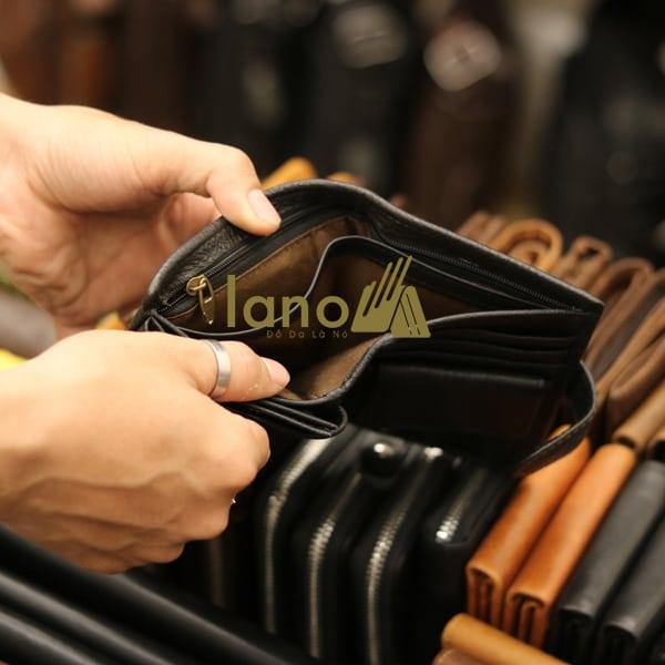 Ví da nam logo đầu trâu có khóa bấm dày dặn thời trang VDN015 đen - bên trong ngăn dài