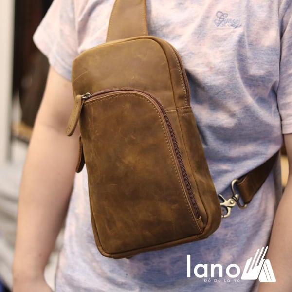 Túi da đeo ngực cho nam thời trang cá tính TDL28 vàng đeo trước ngực