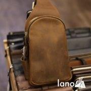 Túi da bò sáp cao cấp đeo chéo lưng cho nam TDL31 nghiêng
