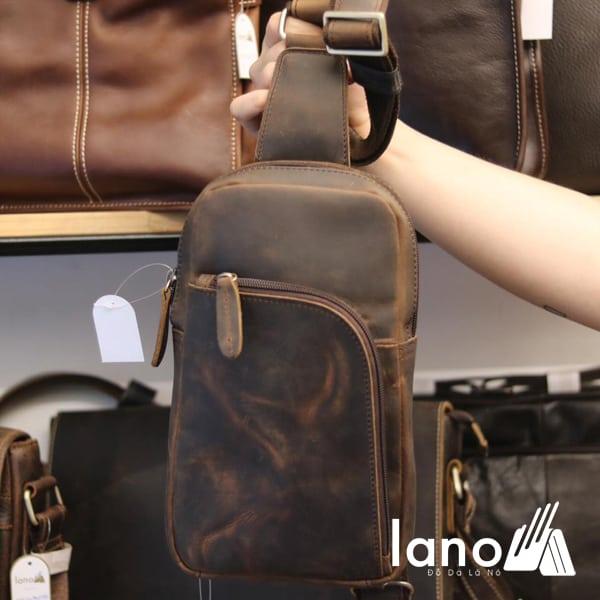 Túi da đeo ngực cho nam thời trang cá tính TDL28 nâu