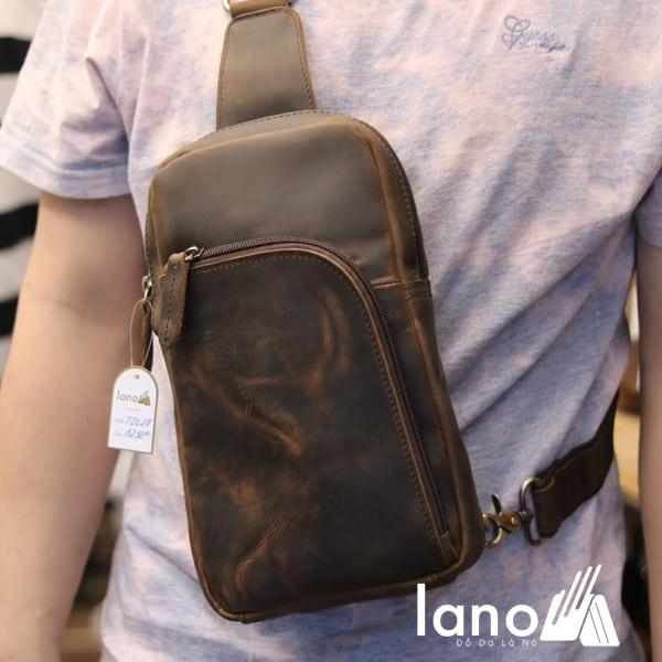 Túi da đeo ngực cho nam thời trang cá tính TDL28 nâu đeo trước ngực