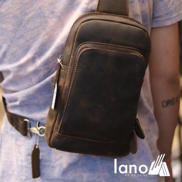 Túi đeo chéo lưng, ngực cho nam da bò sáp TDL30 đeo sau lưng