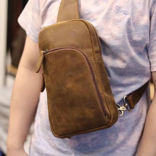 Túi da đeo ngực cho nam thời trang cá tính TDL28 đeo trước ngực