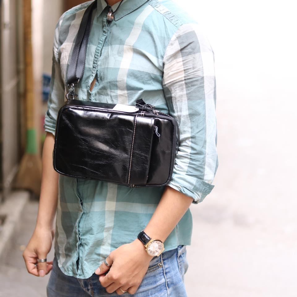 Túi da đeo chéo trước ngực Sling Bag thời trang cao cấp TDL32 đen bóng đeo trước ngực