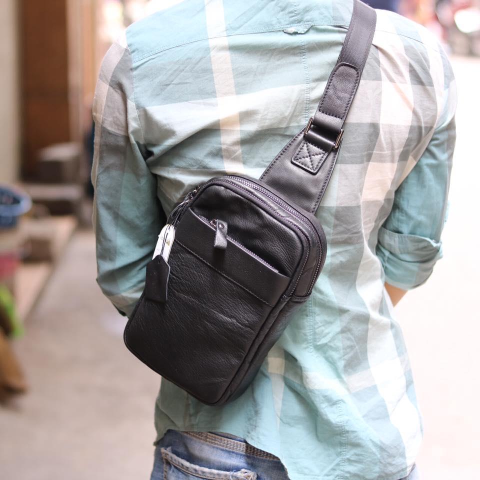 Túi da đeo chéo trước ngực Sling Bag thời trang cao cấp TDL32 đeo sau lưng