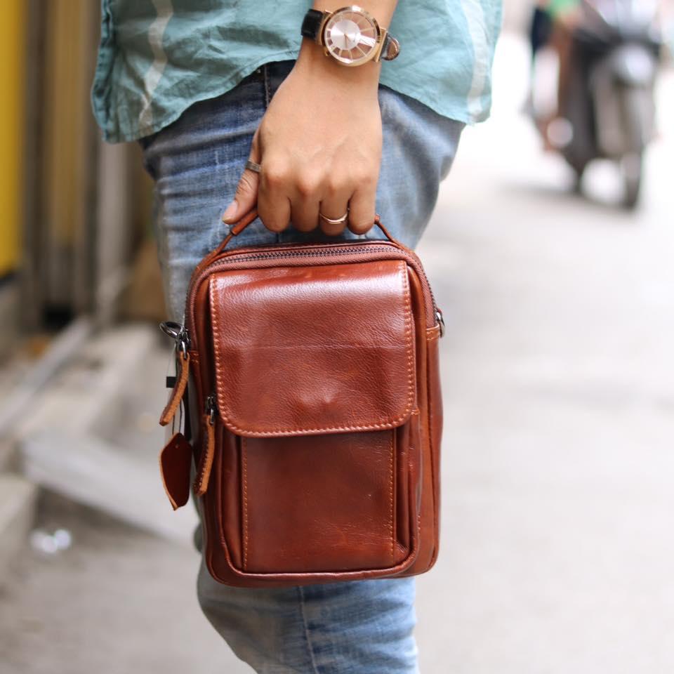 Túi da nam đeo chéo mini loại nhỏ KT75 xách tay