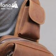 Túi đeo chéo lưng, ngực da thật thời trang cao cấp TDL33 vàng –  ngăn nhỏ