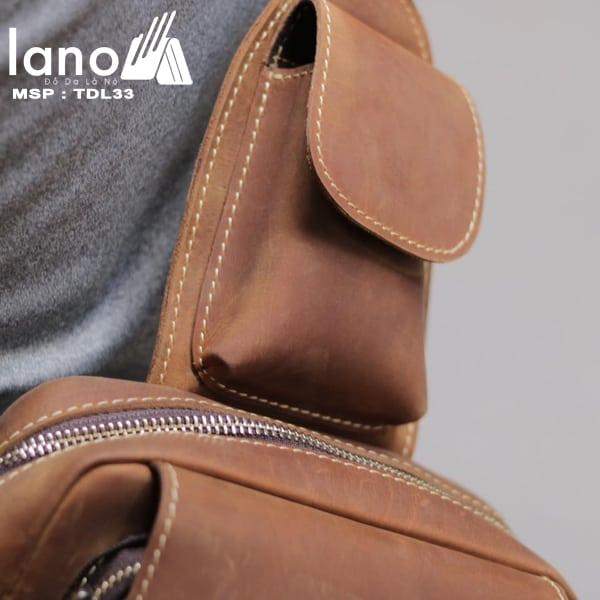 Túi đeo chéo lưng, ngực da thật thời trang cao cấp TDL33 vàng -  ngăn nhỏ