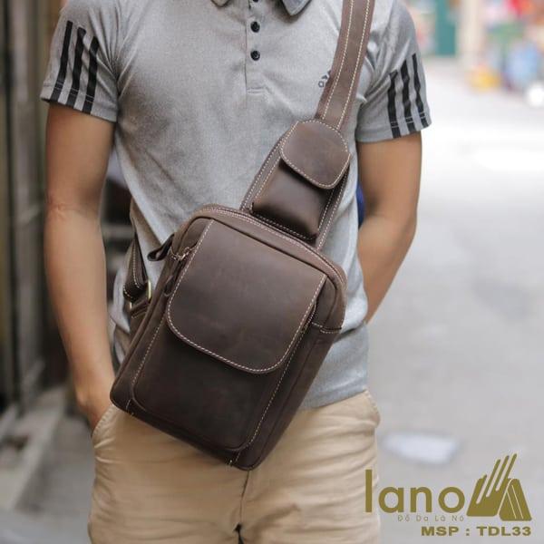 Túi đeo chéo lưng, ngực da thật thời trang cao cấp TDL33 nâu -  đeo trước ngực