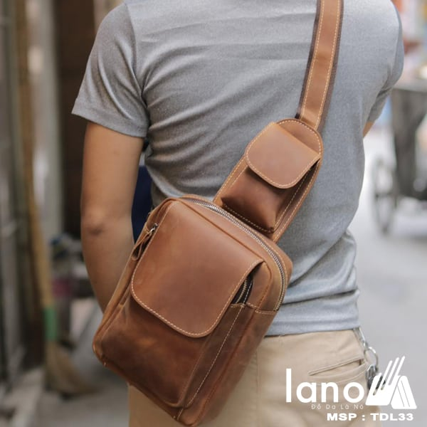 Túi đeo chéo lưng, ngực da thật thời trang cao cấp TDL33 vàng - đeo chéo