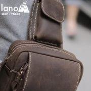 Túi đeo chéo lưng, ngực da thật thời trang cao cấp TDL33 nâu ngăn nhỏ