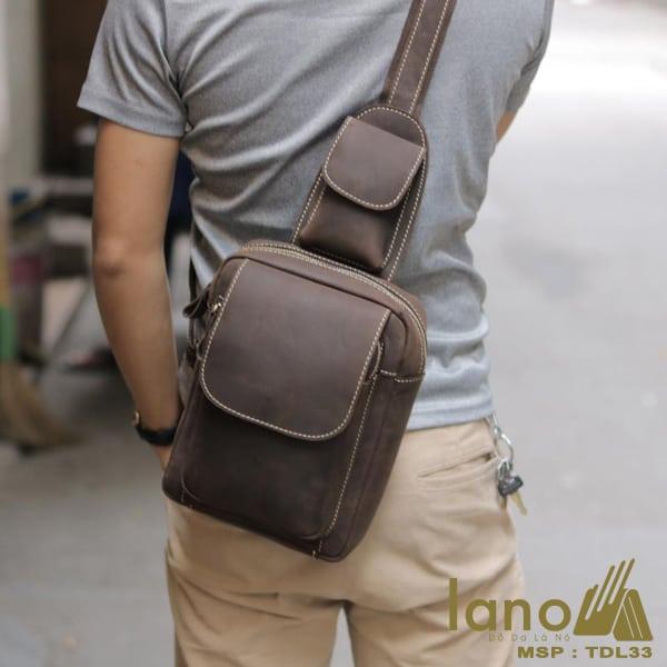 Túi đeo chéo lưng, ngực da thật thời trang cao cấp TDL33 nâu - đeo chéo