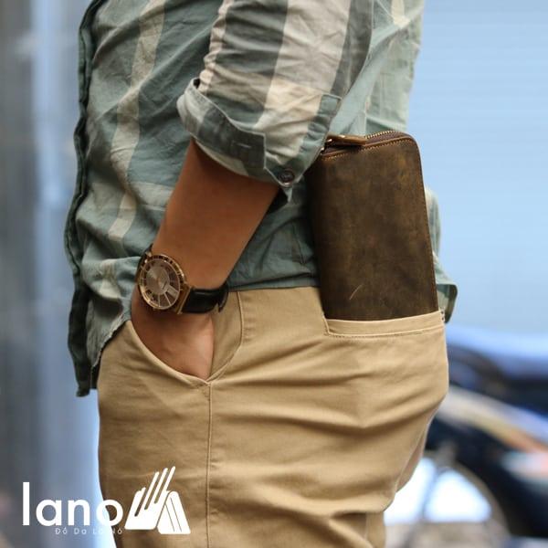Ví cầm tay nam 1 khóa kéo da bò sáp thời trang tiện lợi VCTN012 nâu đút túi sau