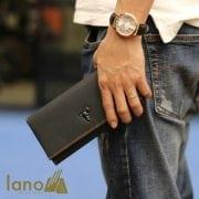Ví cầm tay nam 3 gấp da bò thật thời trang tiện lợi VCTN020 đen – trên tay