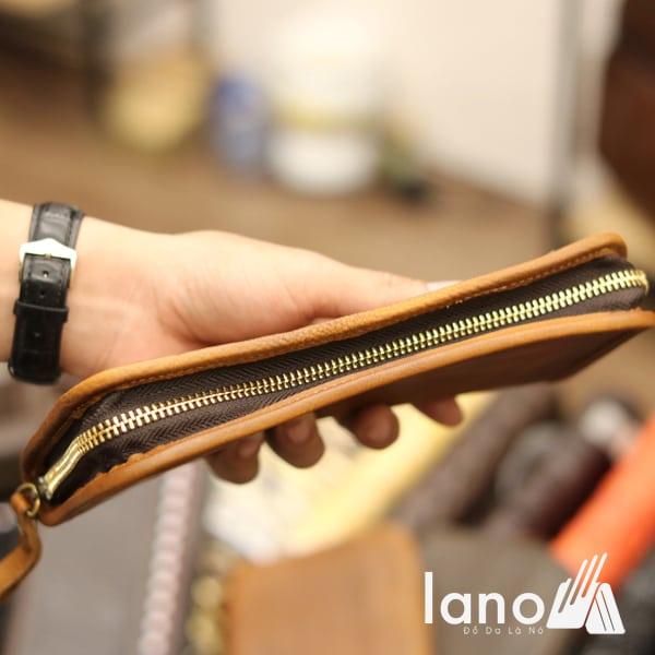 Ví cầm tay nam da dê cao cấp khóa kéo thụt VCTN016 vàng khóa nghiêng
