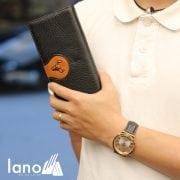 Ví cầm tay nam loại dài 2 gấp logo đầu trâu mới VCTN019 đen – trên tay