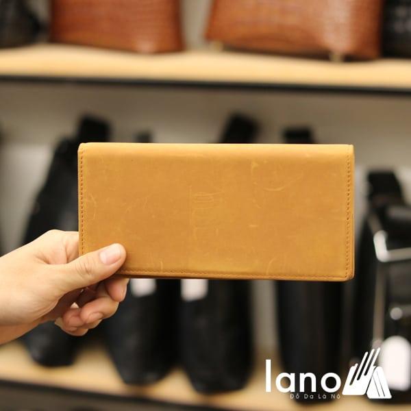 Ví dài cầm tay cho nam da bò sáp thời trang công sở VCTN011 vàng - mặt trước