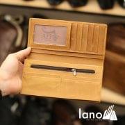 Ví dài cầm tay cho nam da bò sáp thời trang công sở VCTN011 vàng – bên trong
