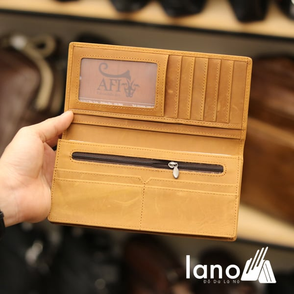 Ví dài cầm tay cho nam da bò sáp thời trang công sở VCTN011 vàng - bên trong