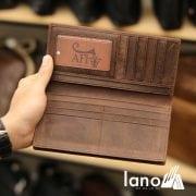 Ví dài cầm tay cho nam da bò sáp thời trang công sở VCTN011 nâu – bên trong