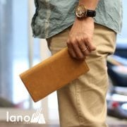 Ví dài cầm tay cho nam da bò sáp thời trang công sở VCTN011 vàng – trên tay