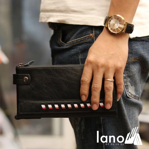 Ví dài cầm tay cho nam da bò thời trang công sở VCTN014 trên tay