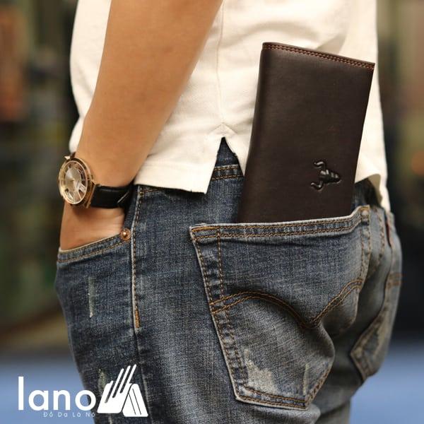 Ví dài nam cầm tay logo đầu trâu 2 gấp tuyệt đẹp VCTN017 đút túi sau