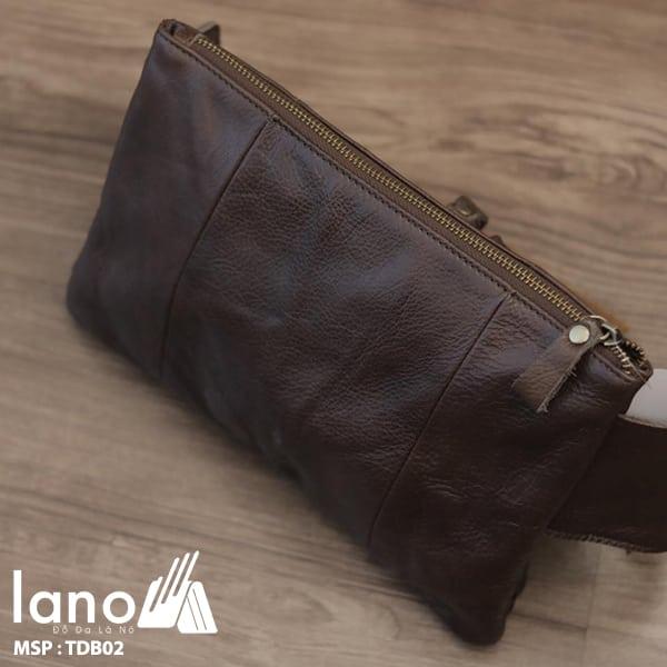 Túi đeo bụng nam da thật thời trang tuyệt đẹp TĐB 002 mặt sau - nghiêng