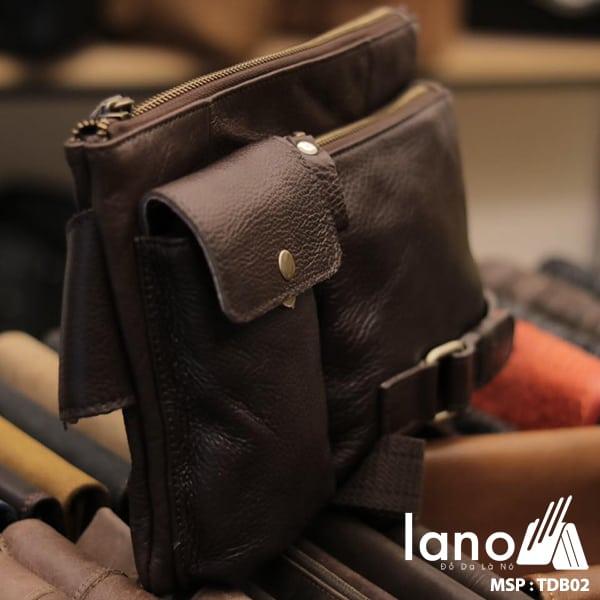 Túi đeo bụng nam da thật thời trang tuyệt đẹp TĐB 002 nghiêng